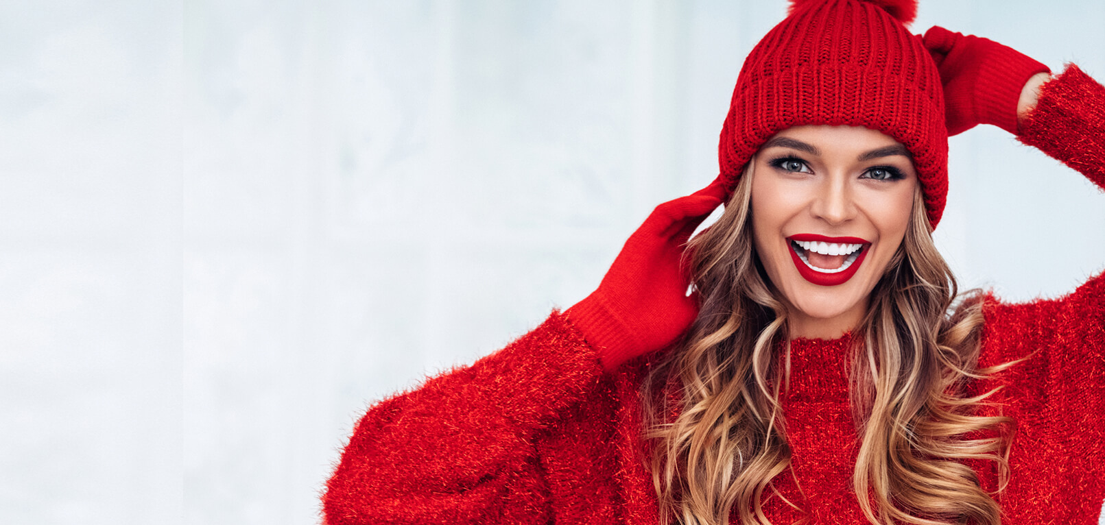 woman in red clothing with holiday style